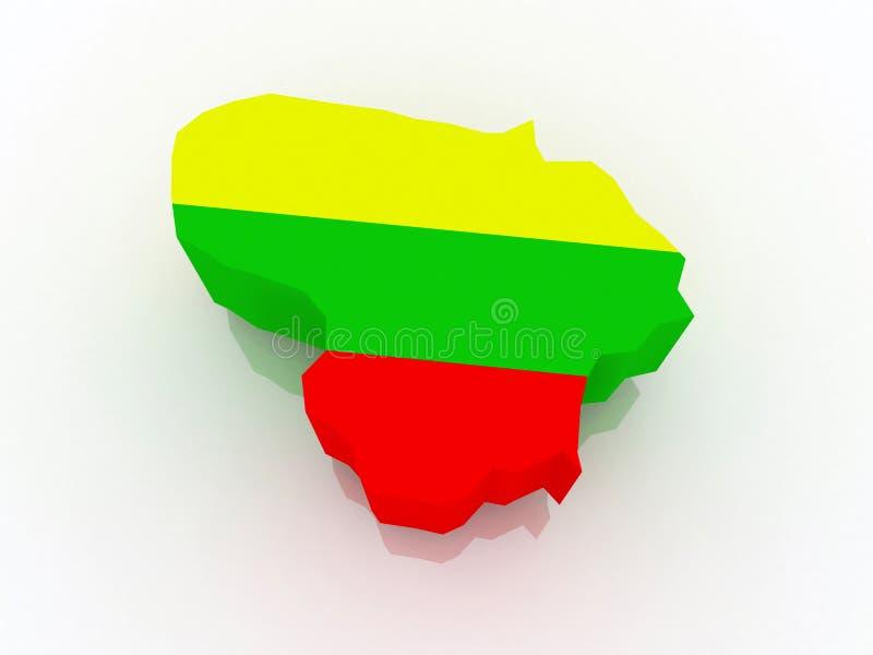 Kaart van Litouwen. royalty-vrije illustratie