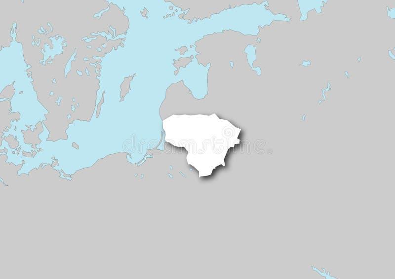 Kaart van Litouwen royalty-vrije illustratie