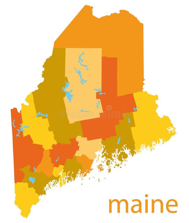 Kaart van Maine, de V.S. vector illustratie