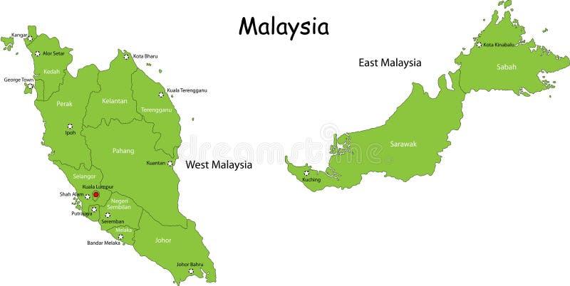 Kaart van Maleisië vector illustratie