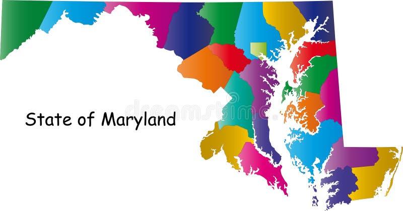 Kaart van Maryland royalty-vrije illustratie