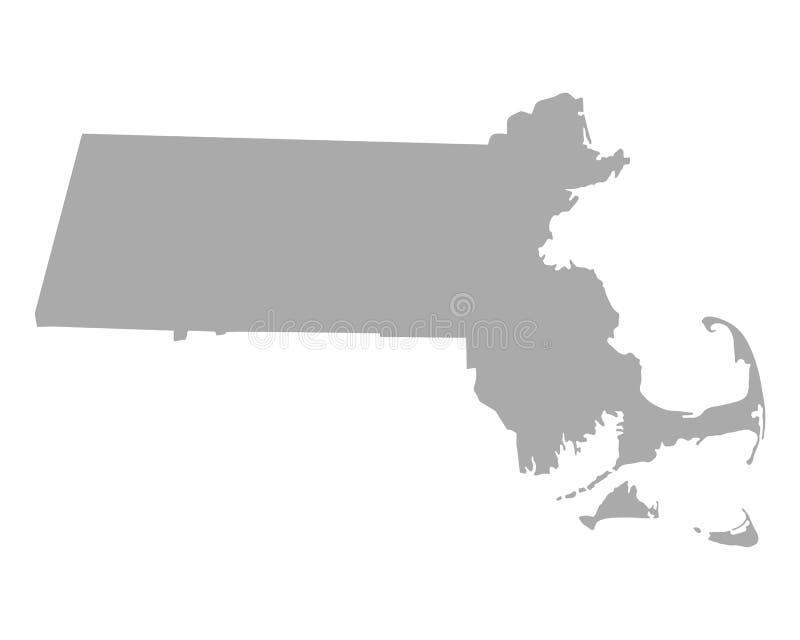 Kaart van Massachusetts royalty-vrije illustratie