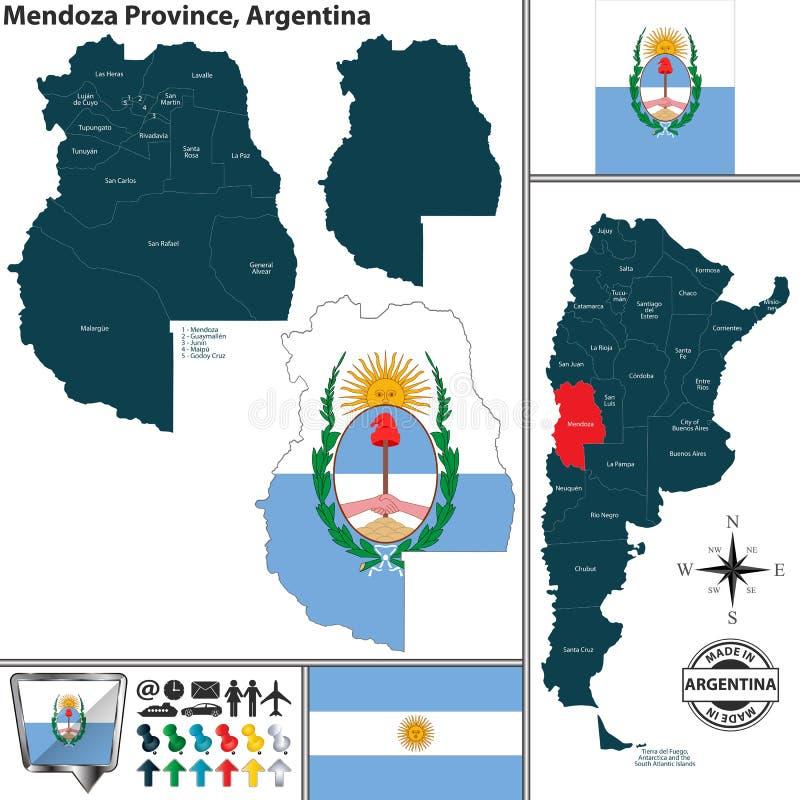 Kaart van Mendoza-Provincie, Argentinië royalty-vrije illustratie