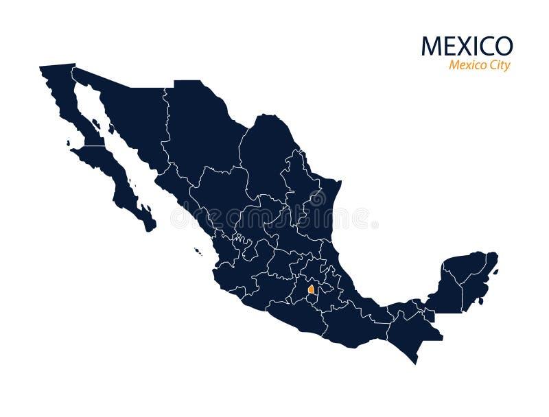 Kaart van Mexico royalty-vrije illustratie