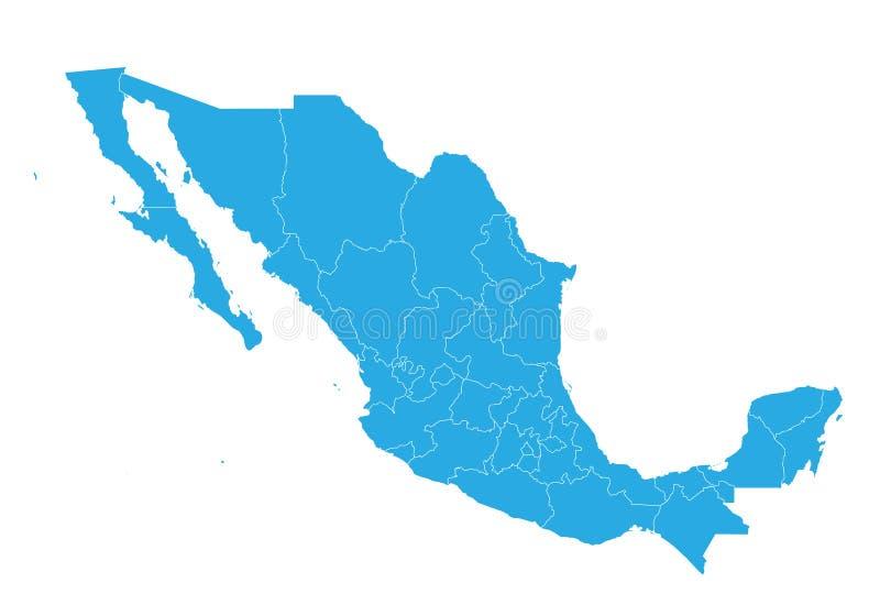 Kaart van Mexico Hoog gedetailleerde vectorkaart - Mexico stock illustratie