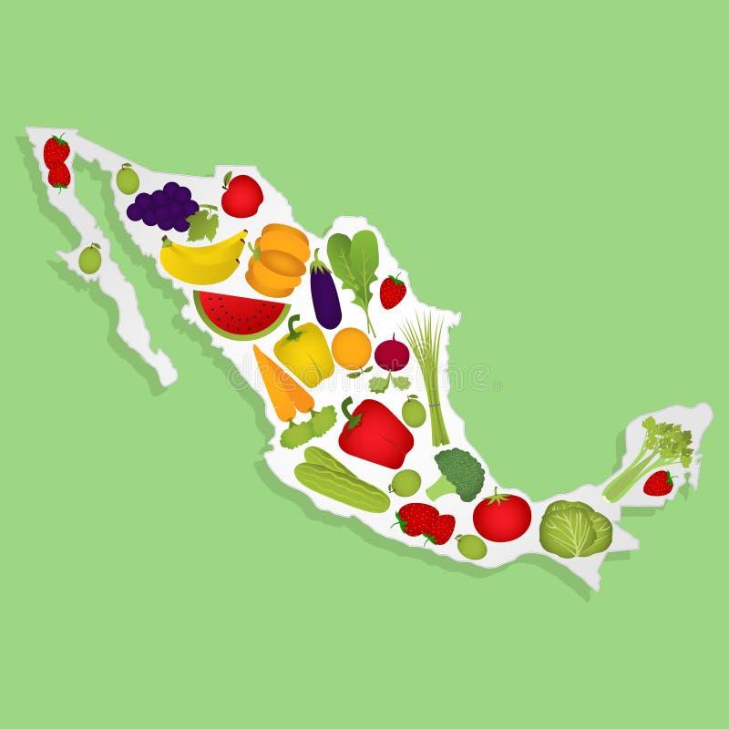 Kaart van Mexico met vruchten stock illustratie