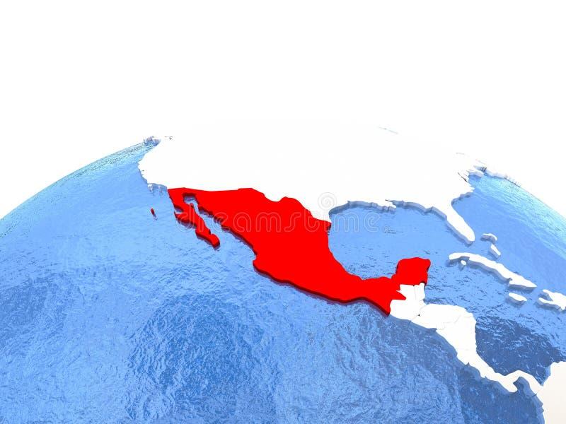 Kaart van Mexico op bol vector illustratie