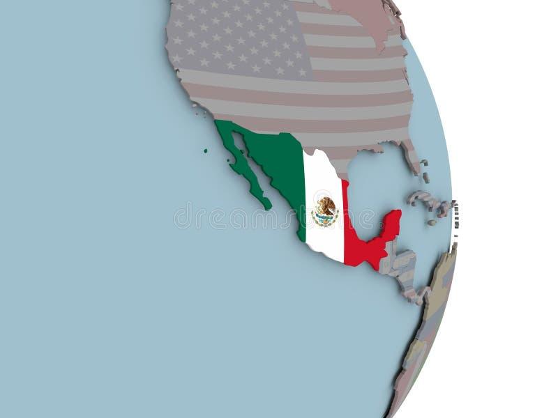 Kaart van Mexico op politieke bol met vlag vector illustratie
