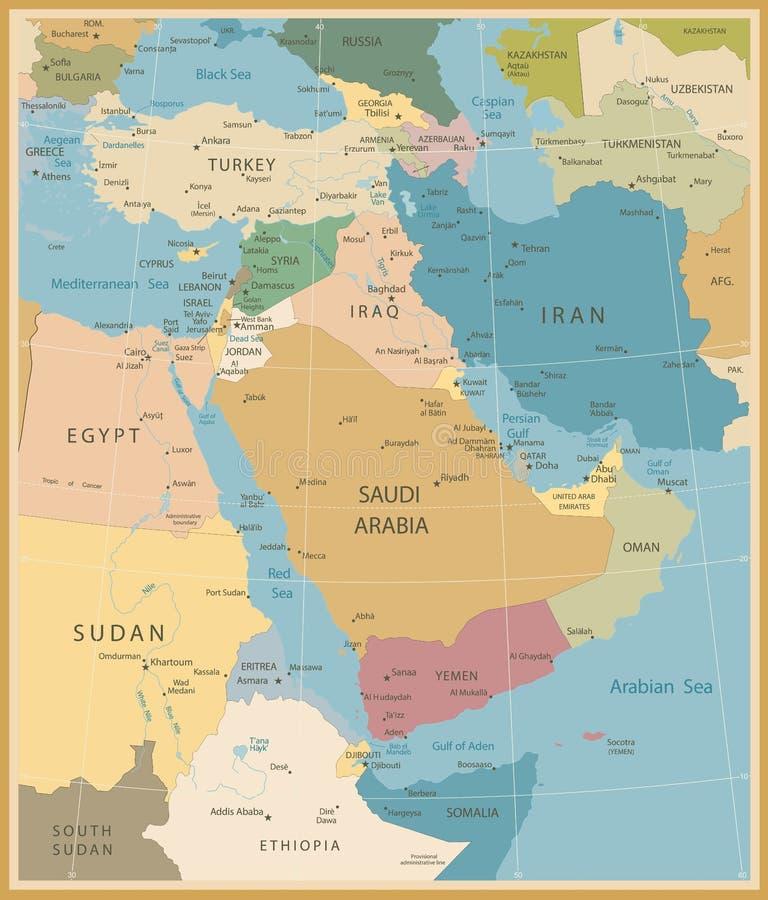 Kaart van Midden-Oosten en de West-Azië stock illustratie