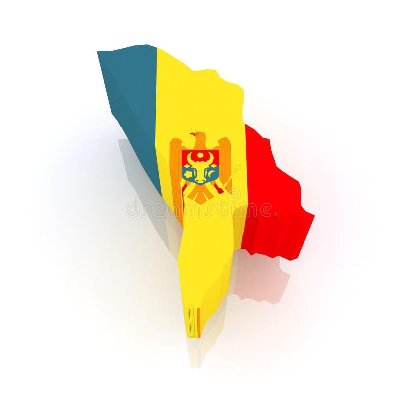 Kaart van Moldavië. stock illustratie