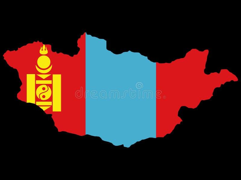 Kaart van Mongolië royalty-vrije illustratie