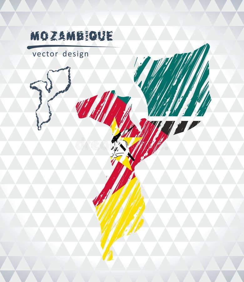 Kaart van Mozambique met de hand getrokken binnen kaart van de schetspen Vector illustratie vector illustratie