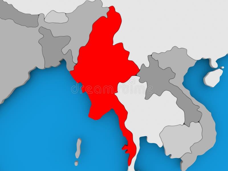 Kaart van Myanmar vector illustratie