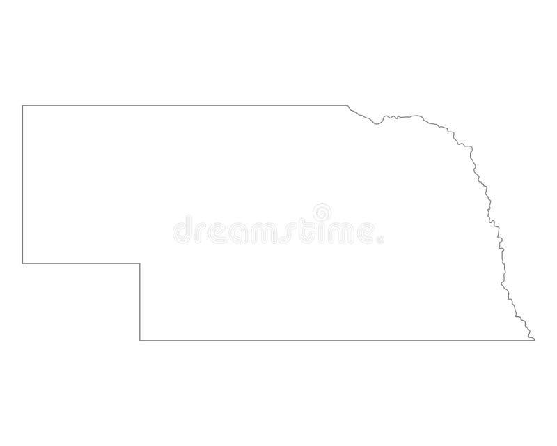 Kaart van Nebraska royalty-vrije illustratie