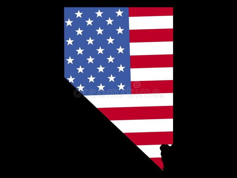 Kaart van Nevada met vlag royalty-vrije illustratie