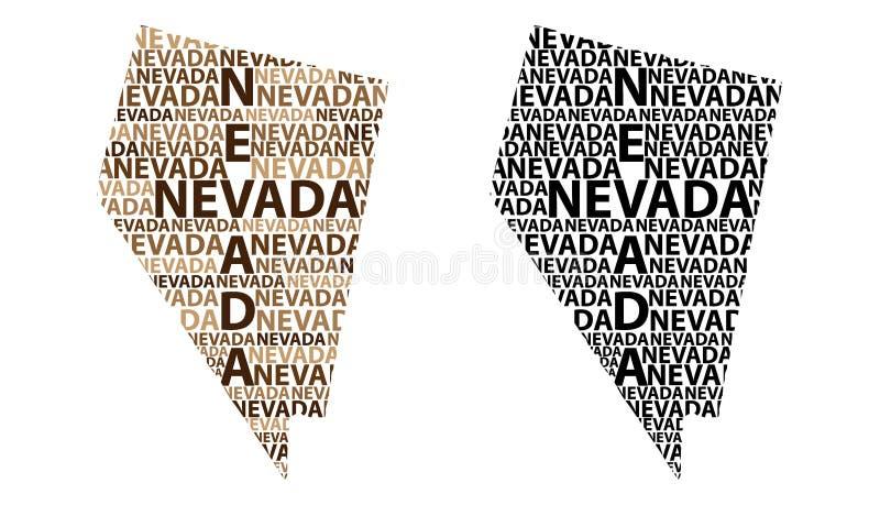 Kaart van Nevada - vectorillustratie stock illustratie