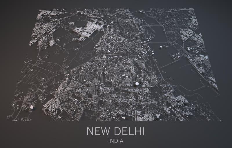 Kaart van New Delhi, India, satellietmening, royalty-vrije illustratie