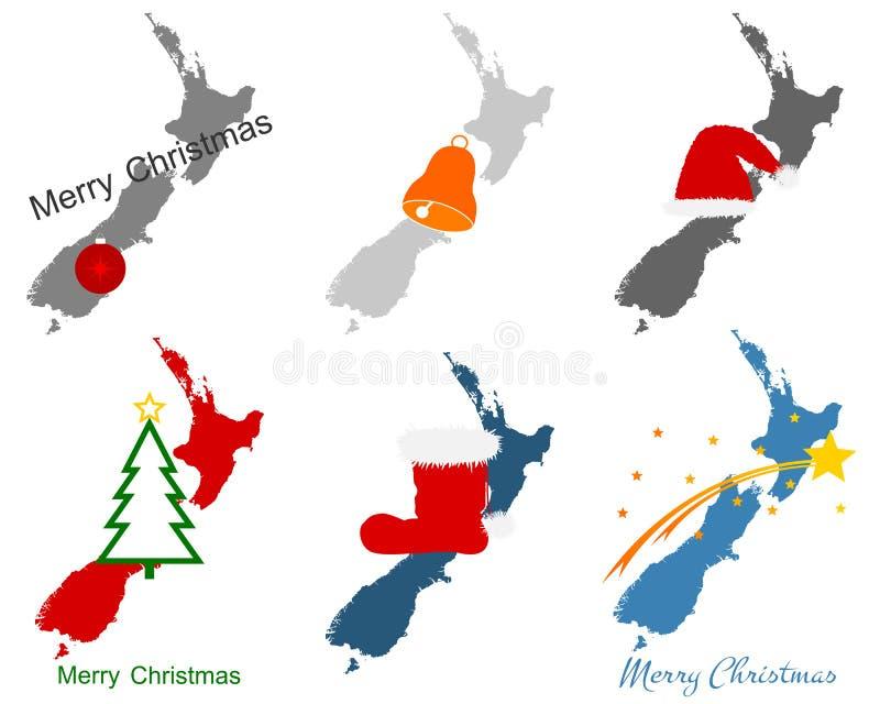 Kaart van Nieuw Zeeland met Kerstmissymbolen royalty-vrije illustratie