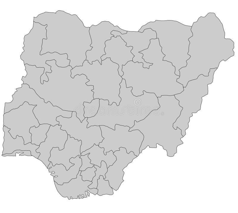 Kaart van Nigeria royalty-vrije illustratie