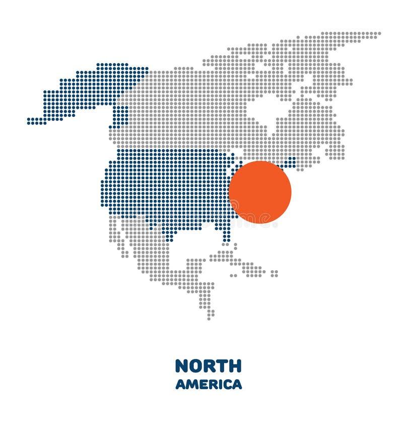Kaart van Noord-Amerika royalty-vrije illustratie