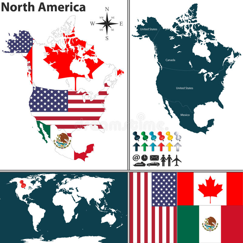 Kaart van Noord-Amerika vector illustratie