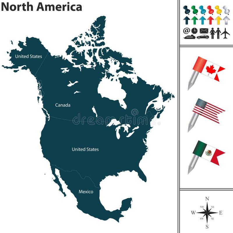 Kaart van Noord-Amerika stock illustratie