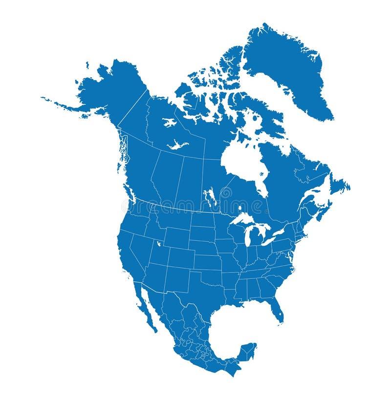 Kaart van Noord-Amerika met afzonderlijke landen stock illustratie