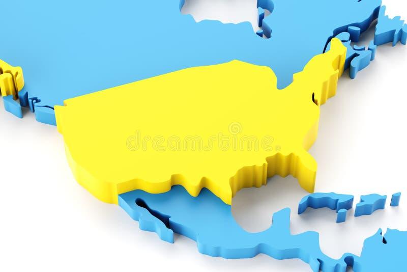 Kaart van Noord-Amerika met benadrukte de V.S. vector illustratie