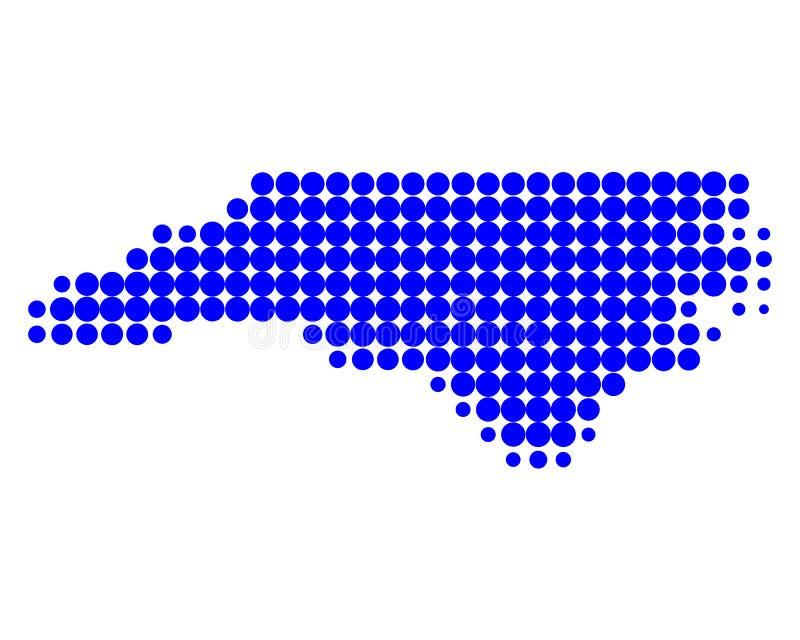 Kaart van Noord-Carolina stock illustratie