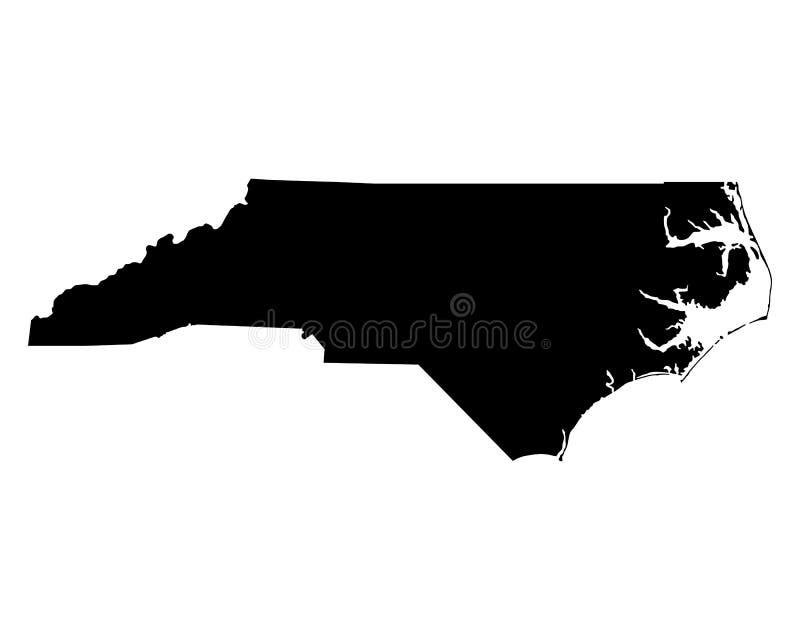 Kaart van Noord-Carolina royalty-vrije illustratie