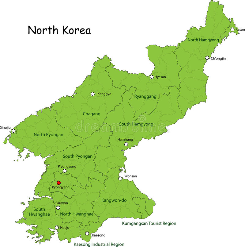 Kaart van Noord-Korea stock illustratie