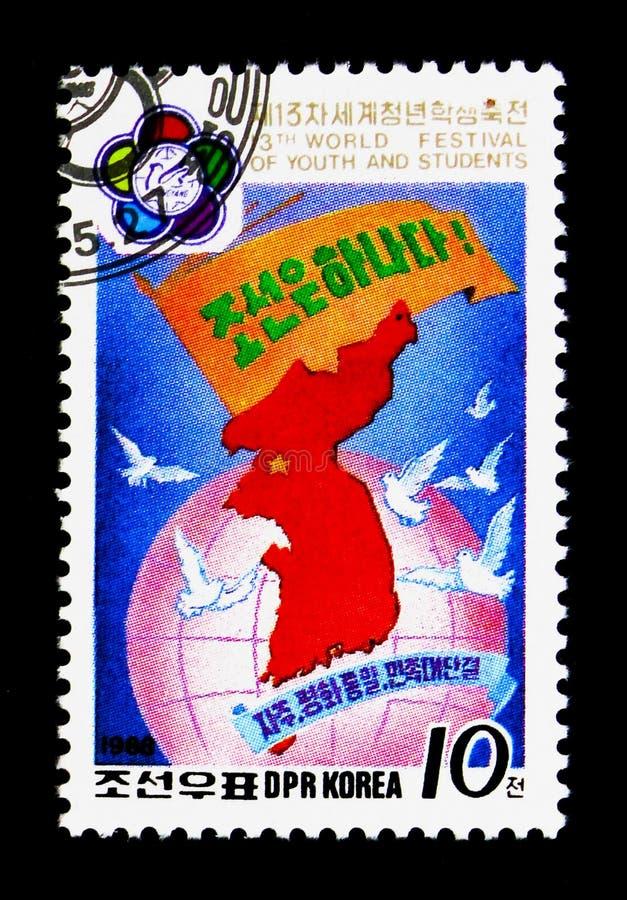 Kaart van Noord-Korea, 13de Wereldfestival van de Jeugd en Studenten, Pyongyang I serie, circa 1988 stock foto's