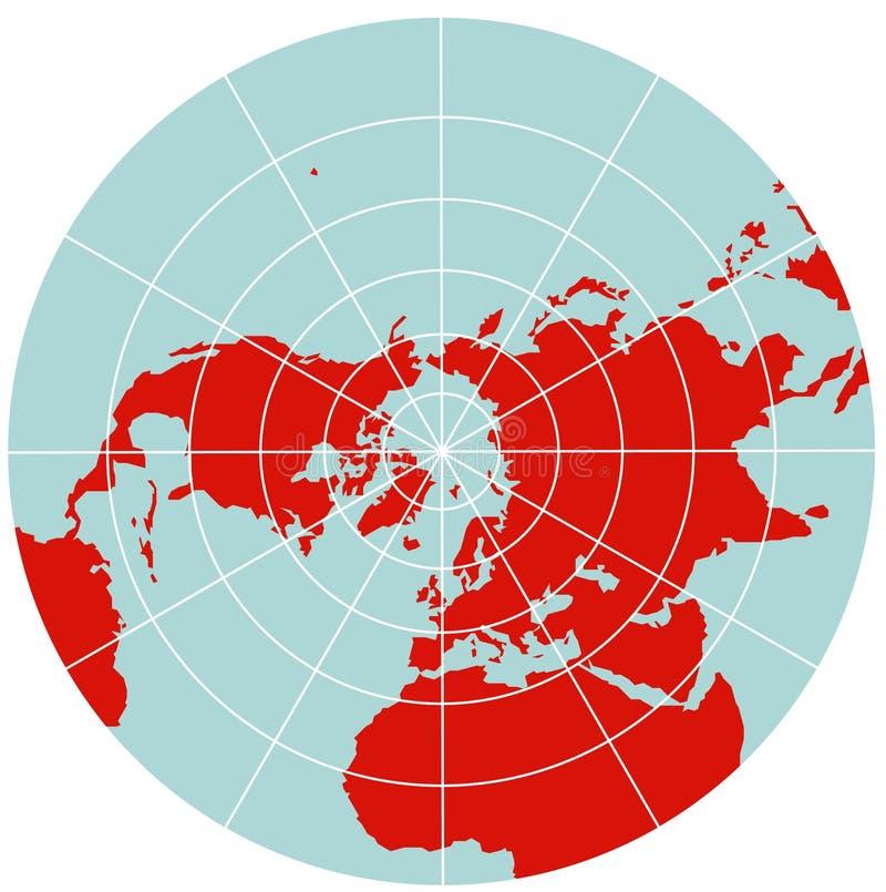 Kaart van Noordelijke Hemisfeer - Polaire Stereographic stock illustratie
