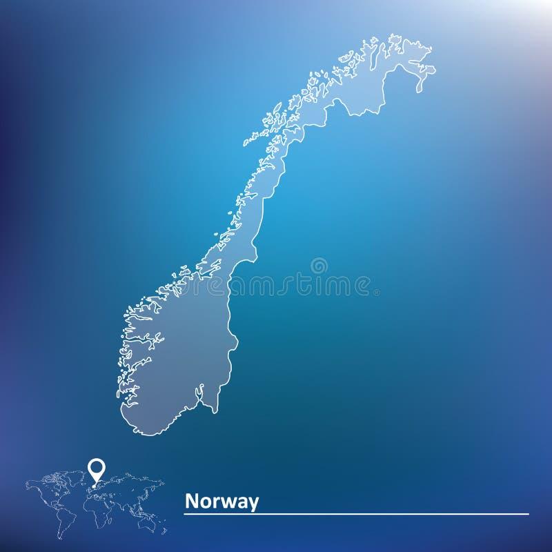 Kaart van Noorwegen royalty-vrije illustratie