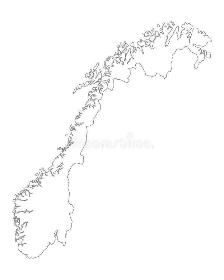 Kaart van Noorwegen stock illustratie