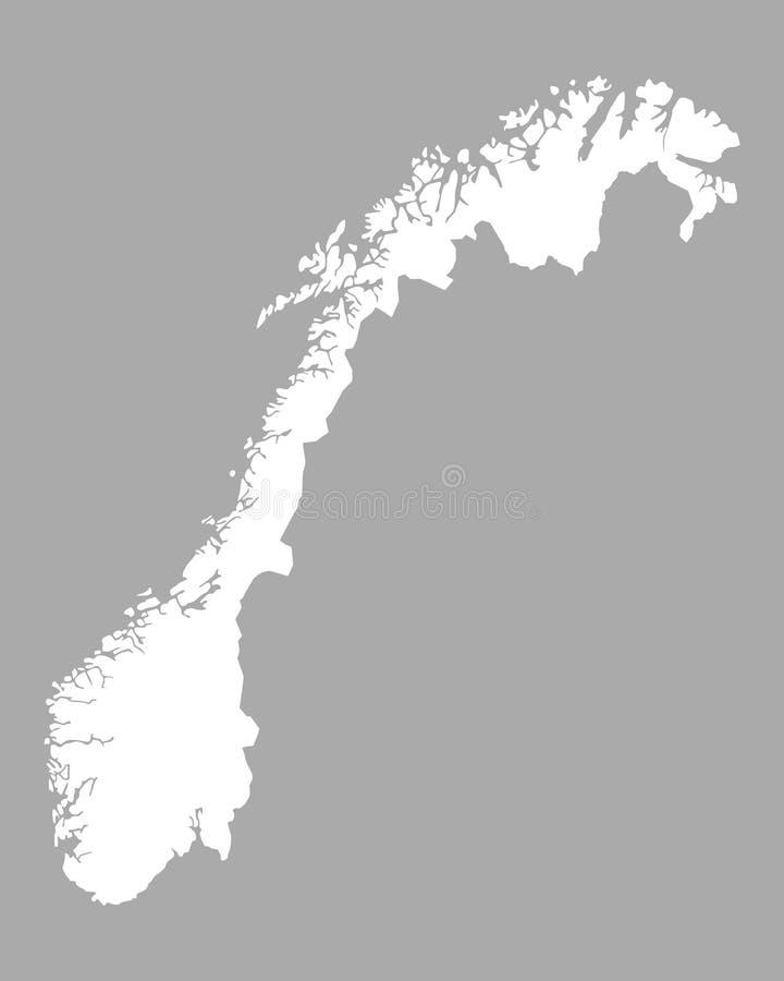 Kaart van Noorwegen vector illustratie