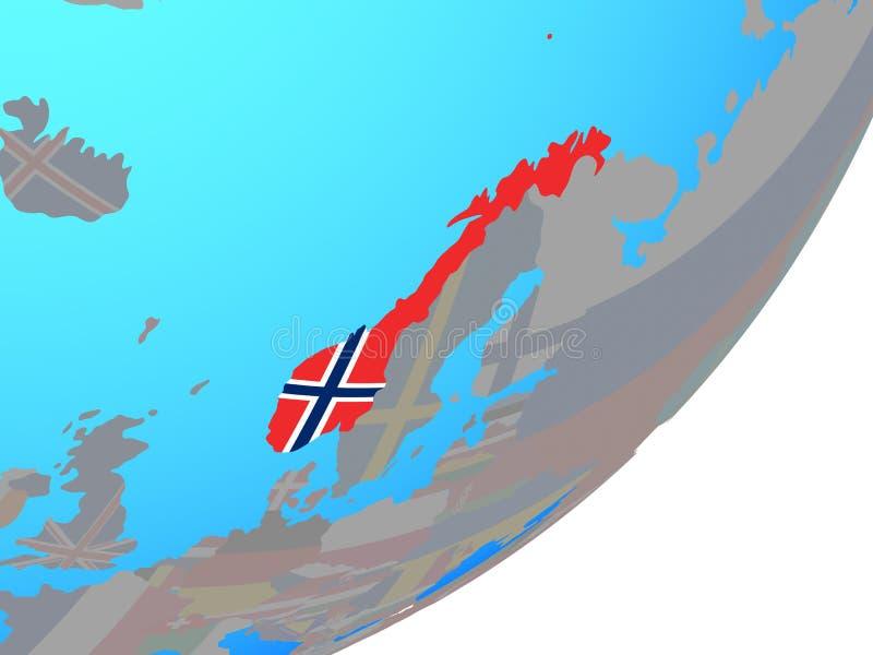 Kaart van Noorwegen met vlag op bol stock illustratie