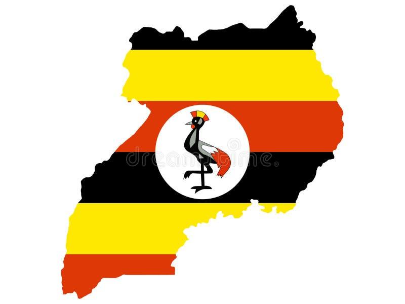 Kaart van Oeganda stock illustratie