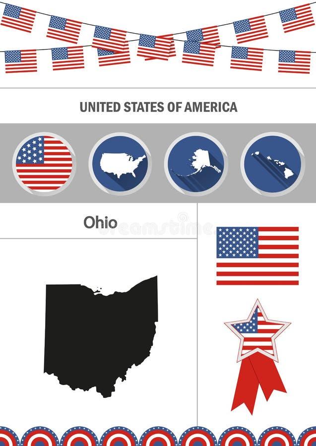 Kaart van Ohio Reeks vlakke infographicselementen van ontwerppictogrammen met stock illustratie