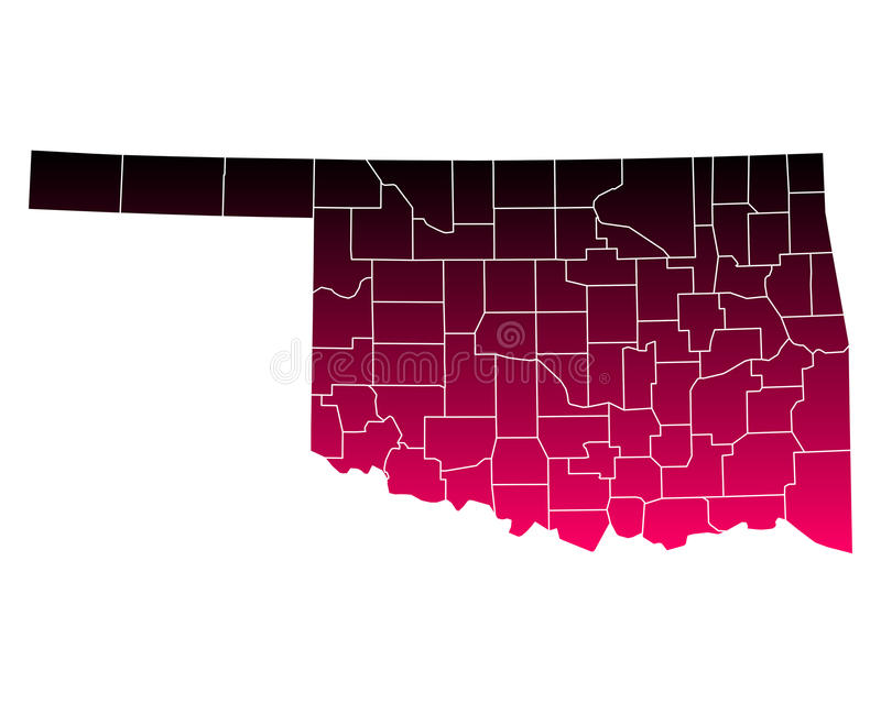 Kaart van Oklahoma stock illustratie