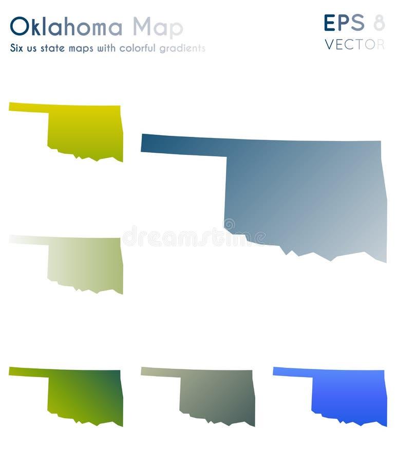 Kaart van Oklahoma met mooie gradi?nten royalty-vrije illustratie