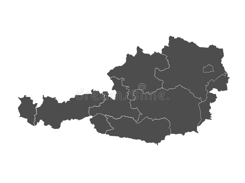 Kaart van Oostenrijk royalty-vrije illustratie