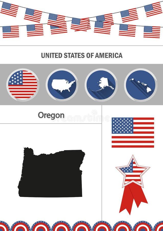 Kaart van Oregon Reeks van het vlakke verstand van infographicselementen van ontwerppictogrammen vector illustratie