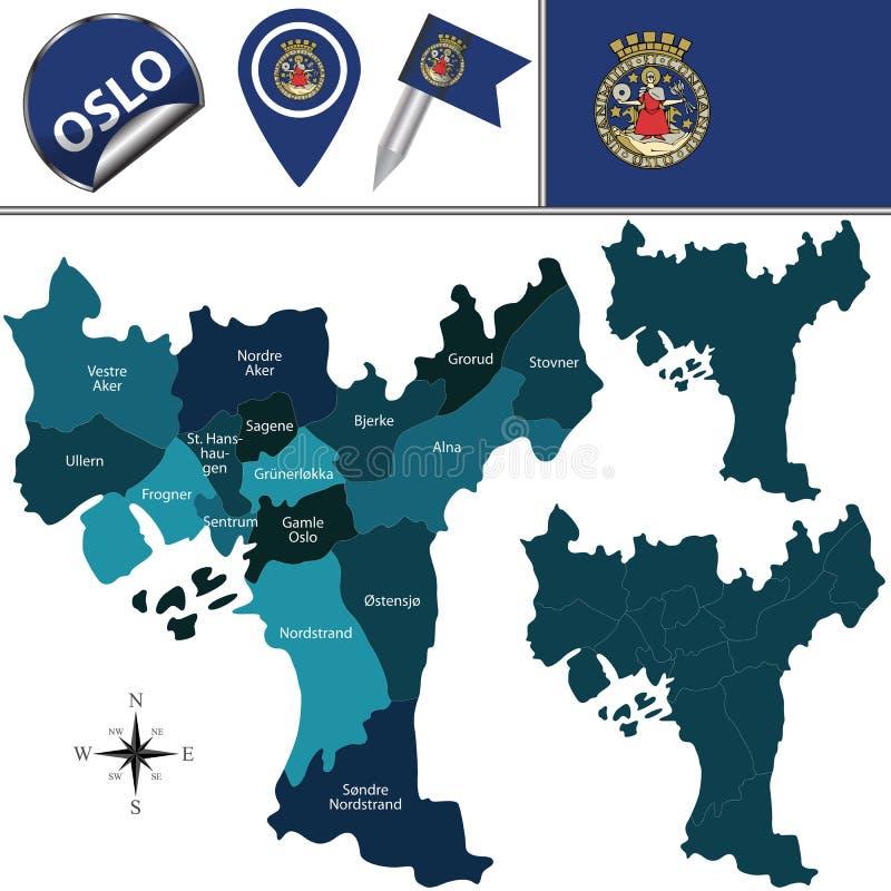Kaart van Oslo, Noorwegen royalty-vrije illustratie