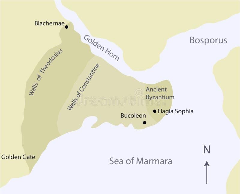 Kaart van Oud Byzantium royalty-vrije illustratie