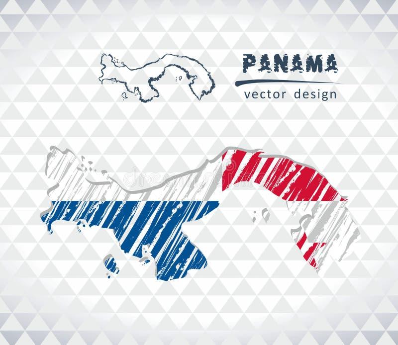 Kaart van Panama met de hand getrokken binnen kaart van de schetspen Vector illustratie royalty-vrije illustratie