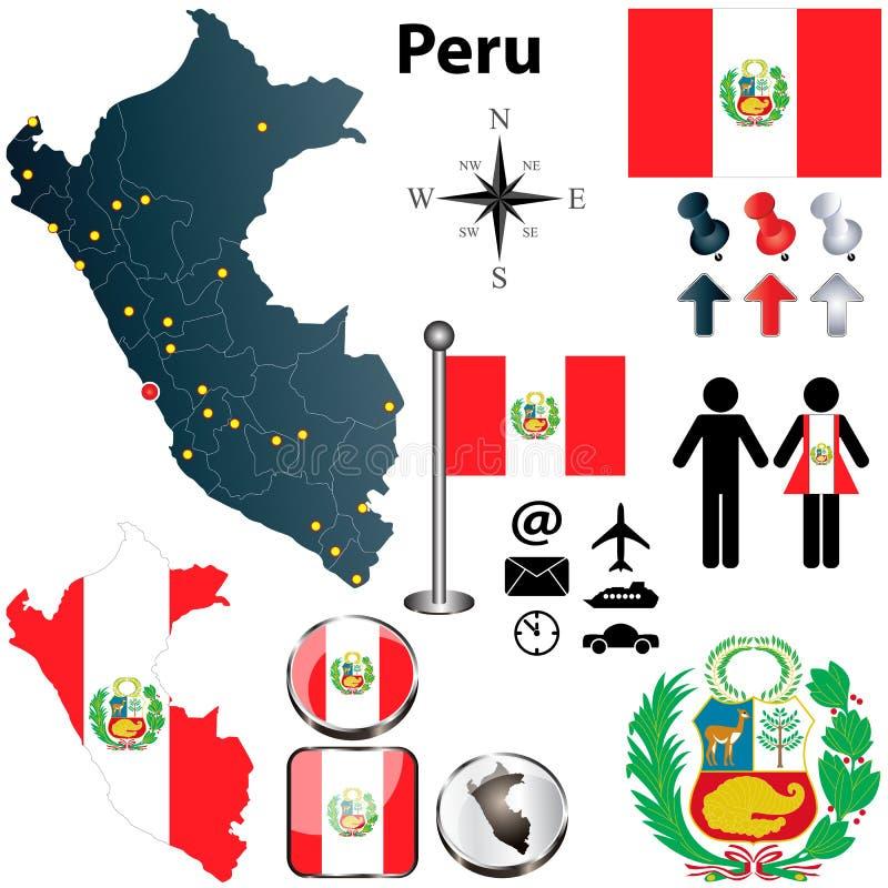 Kaart van Peru royalty-vrije illustratie
