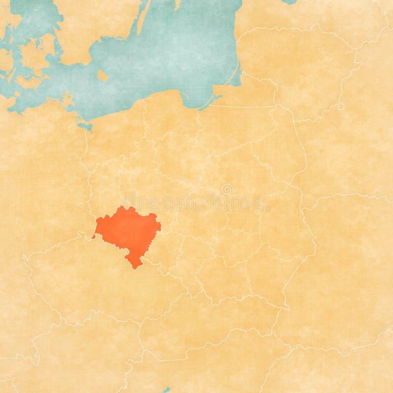 Kaart van Polen - Lager Silesië stock illustratie