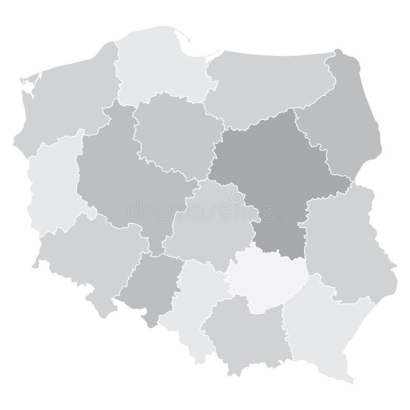 Kaart van Polen met voivodeships stock illustratie