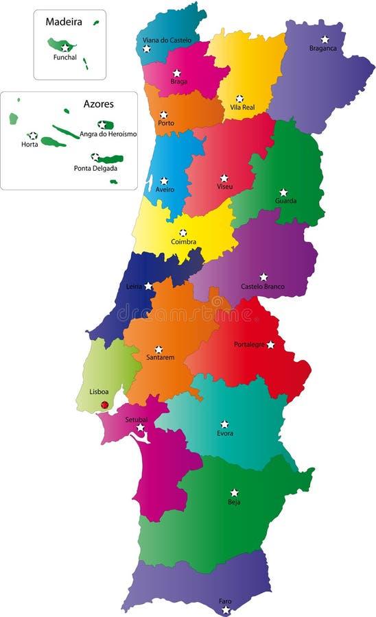 Kaart van Portugal royalty-vrije illustratie